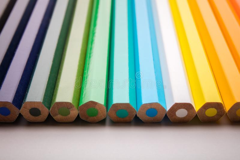 Pencils all colors royalty free stock photos