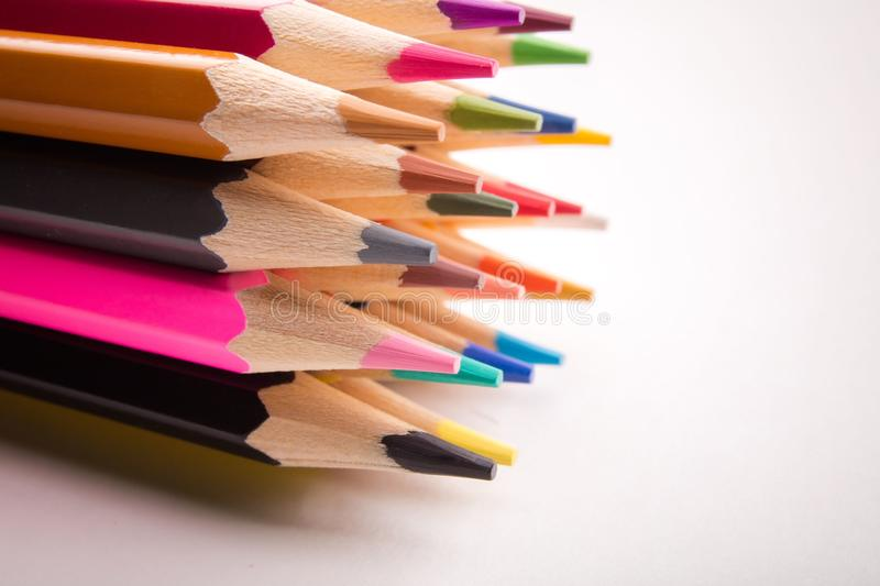 Pencils all colors royalty free stock images