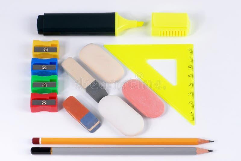 Pencils&erasers fotografía de archivo
