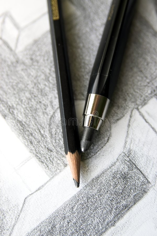 Free Pencils And A Sketch Stock Image - 6352381