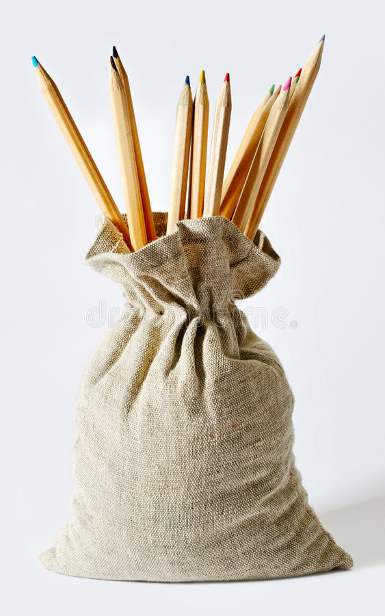 Download Pencils in a bag. stock photo. Image of vertical, green - 23645362