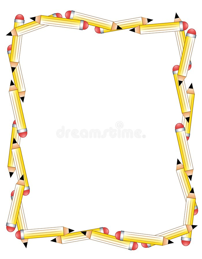 Pencils Border or Frame. An illustration featuring a collection of pencils casually arranged into a border or frame stock illustration