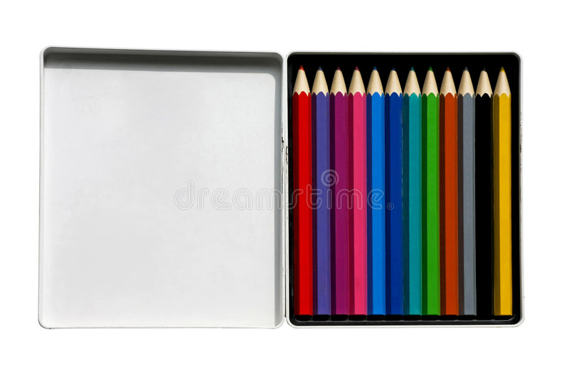 Pencils in box royalty free stock photo