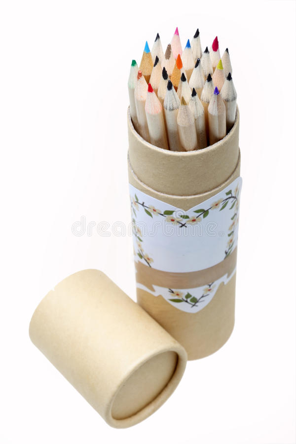 Pencils in brush pot royalty free stock photography