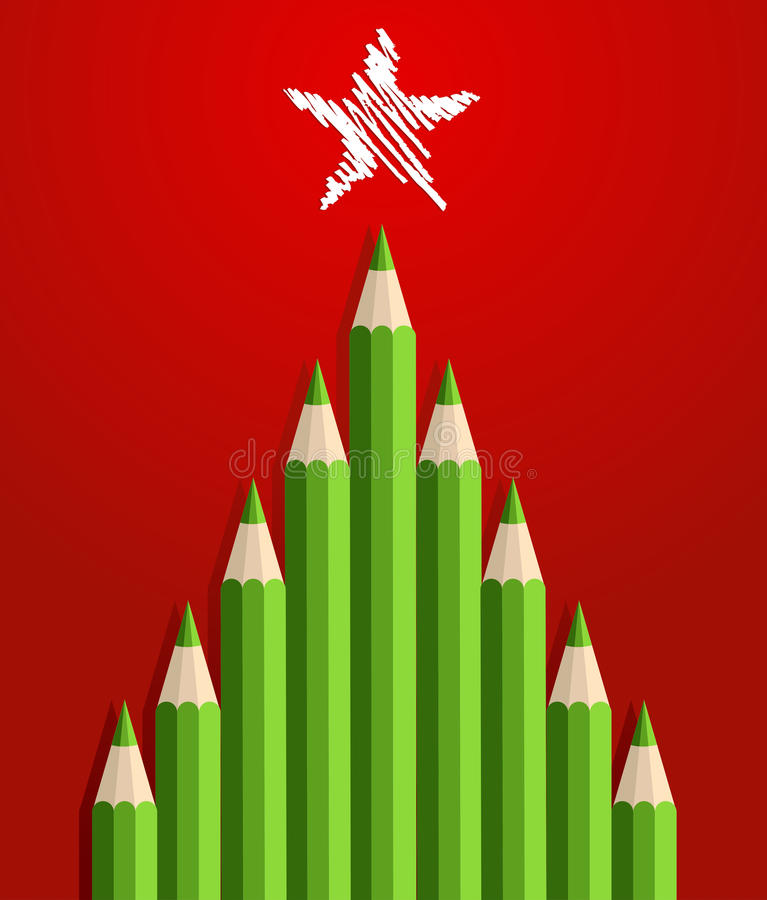Pencils Christmas Tree royalty free stock images