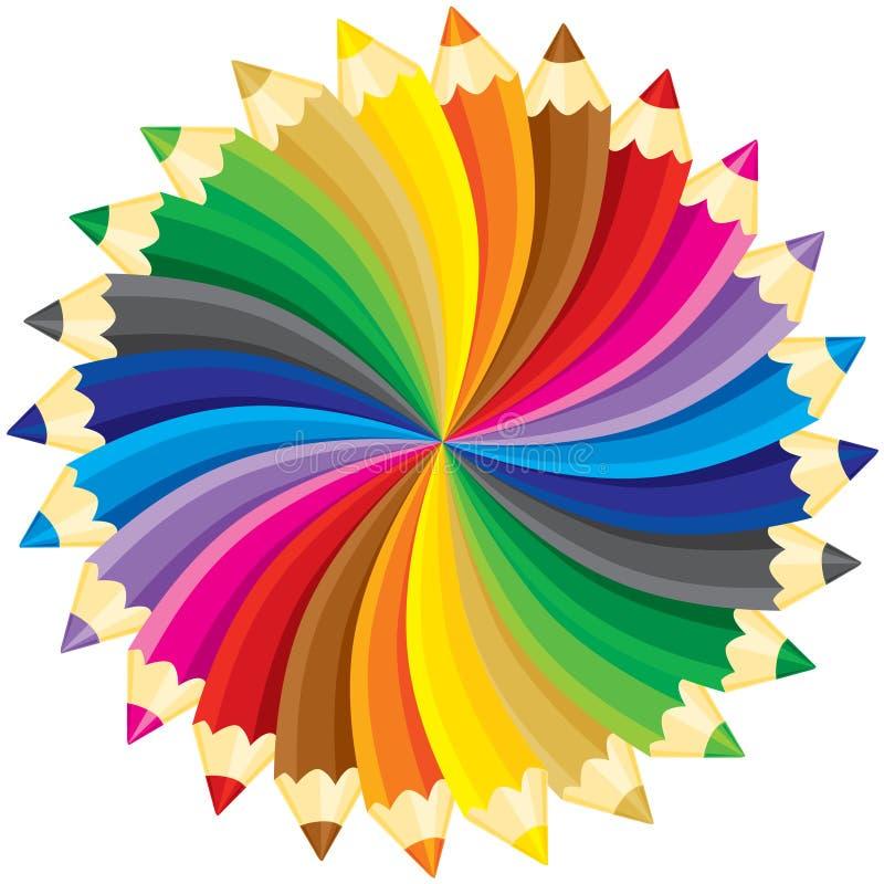 Pencils circle. Spectrum, colorful pencils circle, without gradients. Vector illustration vector illustration