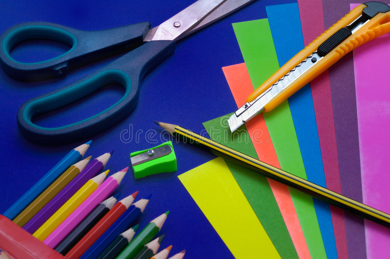 Pencils and color cardboard royalty free stock photography
