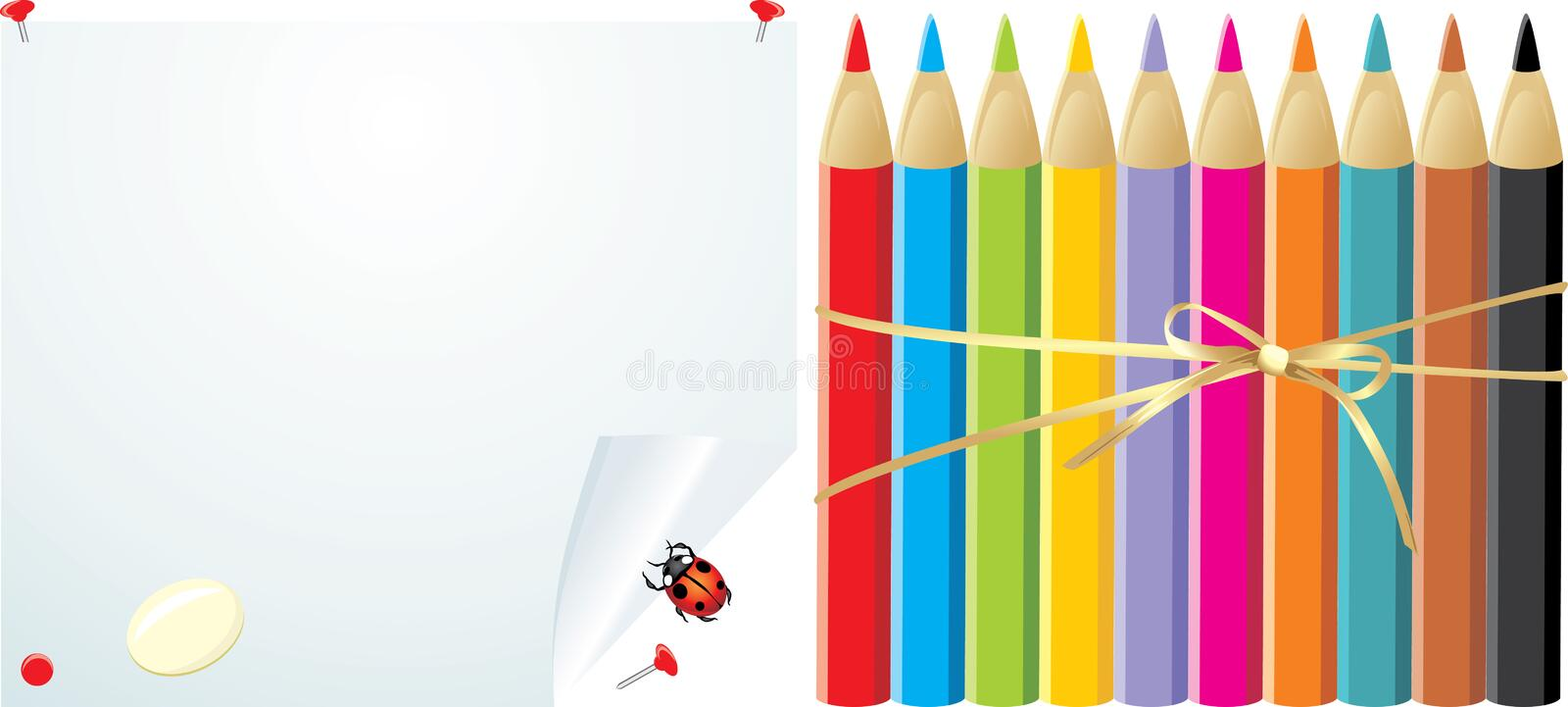 Pencils on the convoluted paper with elastic stock photos