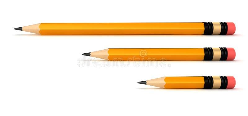 Pencils. 3d render of pencils in different sizes vector illustration