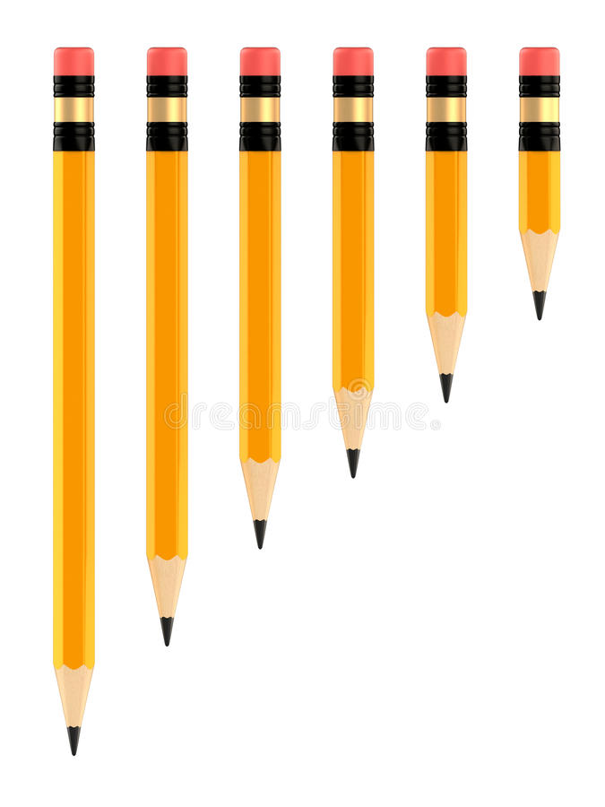 Pencils. 3d render of pencils in different sizes royalty free illustration