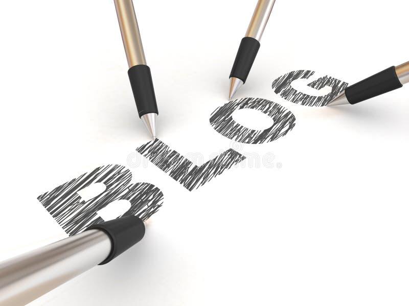 Pencils Depicting Text Blog Stock Photos
