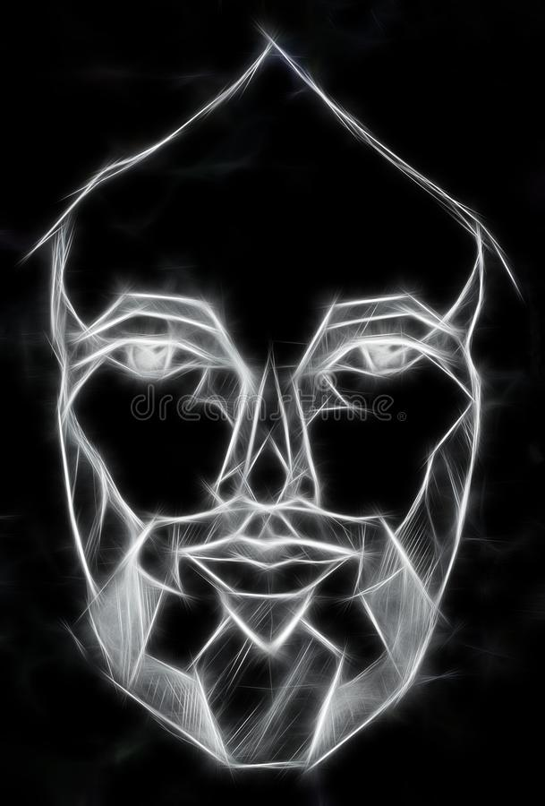 Pencils drawing of Jesus in geometrical shapes, Fractal effect. vector illustration