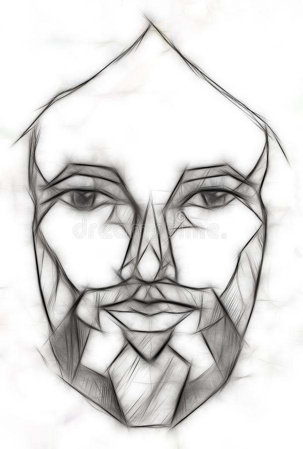 Pencils drawing of Jesus in geometrical shapes, Fractal effect. stock illustration