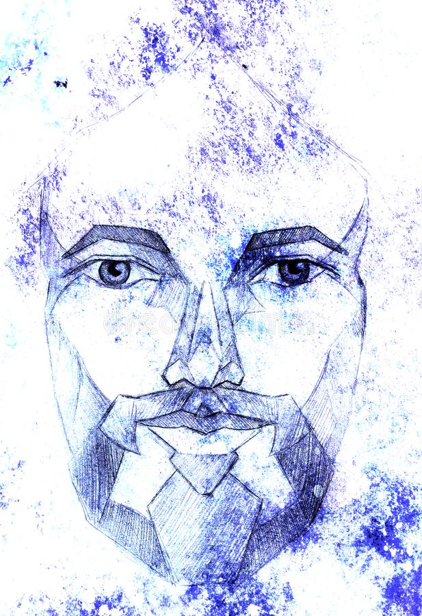 Pencils drawing of Jesus on paper, eye contact. Graphic effect. vector illustration