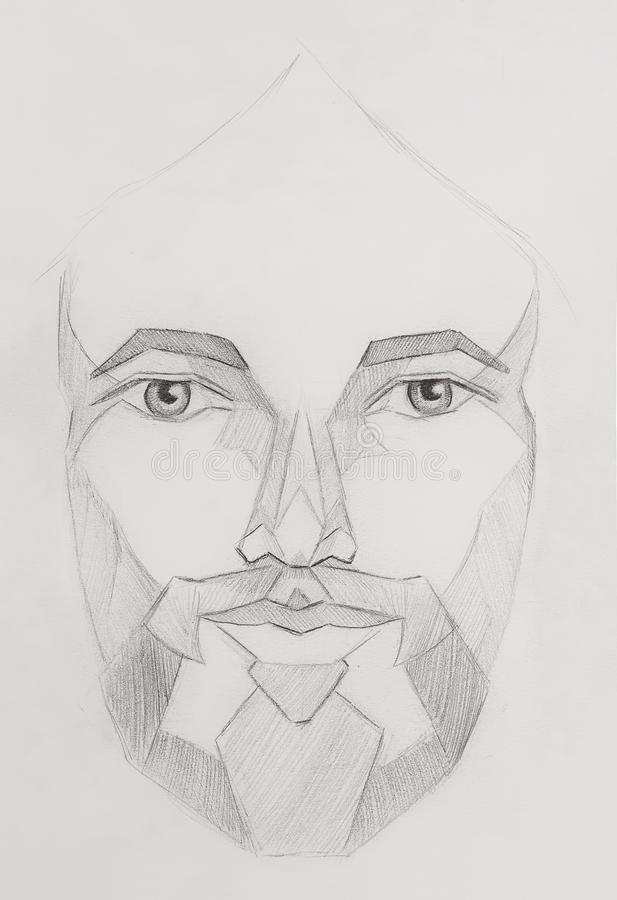 Pencils drawing of Jesus in geometrical shapes, on paper, eye contact. stock illustration