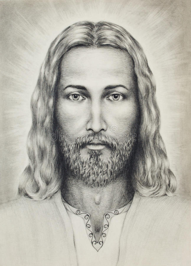 Pencils drawing of Jesus on vintage paper, with ornament on clothing. eye contact. stock illustration