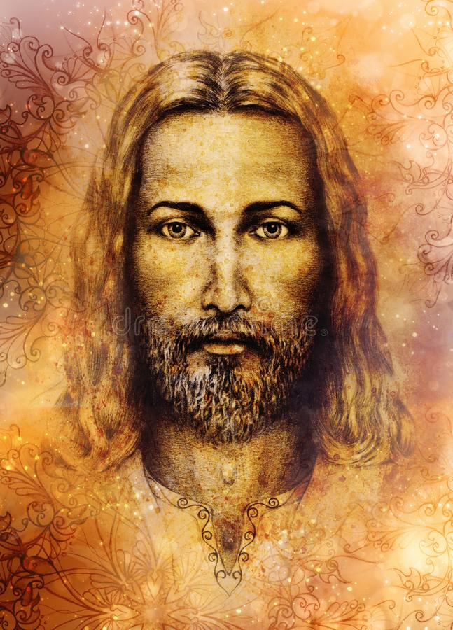 Pencils drawing of Jesus on vintage paper and softly blurred watercolor background. stock illustration