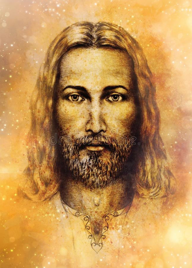 Pencils drawing of Jesus on vintage paper and softly blurred watercolor background. vector illustration