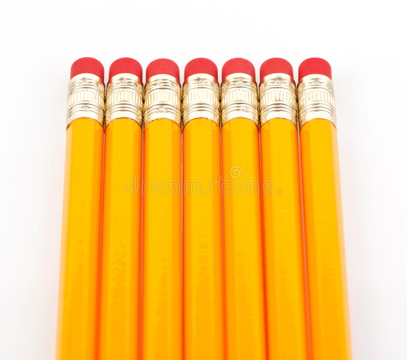Pencils with eraser. In line isolated on white background royalty free stock photo