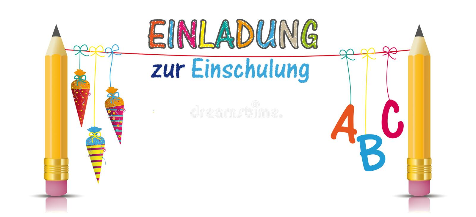 2 Pencils Hanging Candy Cones ABC Einladung Einschulung stock photography