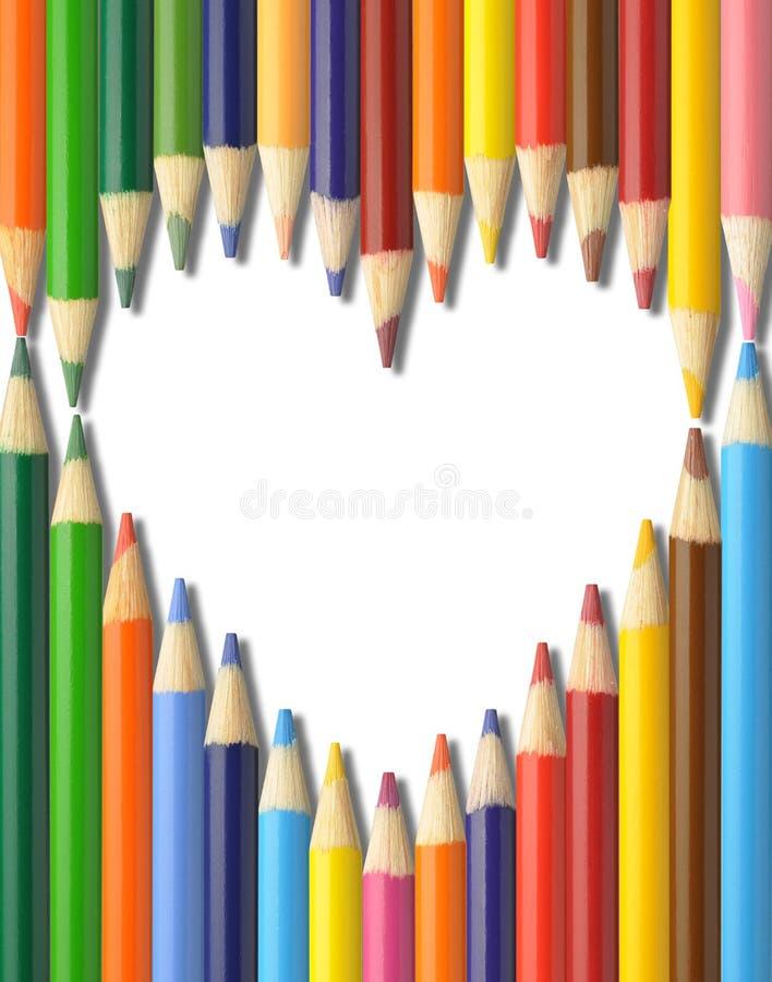 Pencils hjärtaform arkivfoton