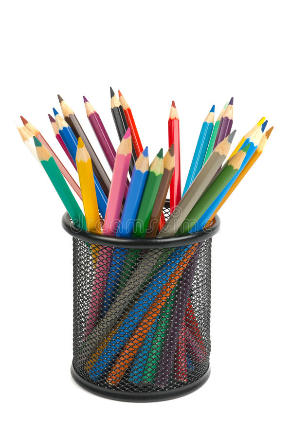 Pencils in holder royalty free stock image