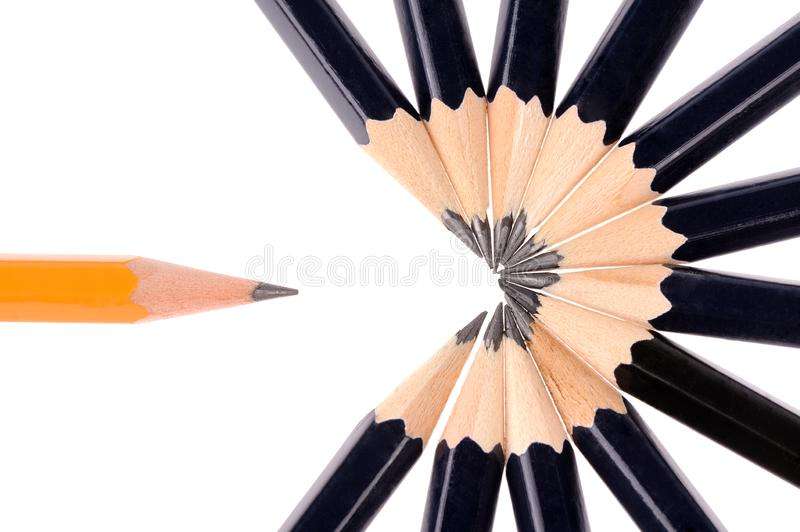 Pencils isolated on white background. Two colours pencils isolated on white background, descriptive, group, design, frame, school, image, multi, art, set stock photos