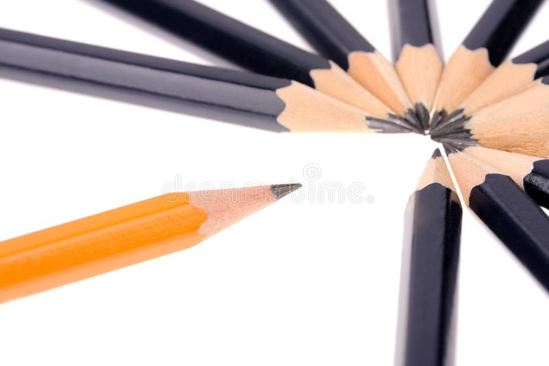 Pencils isolated on white background. Two colours pencils isolated on white background, descriptive, group, design, frame, school, image, multi, art, set stock photo