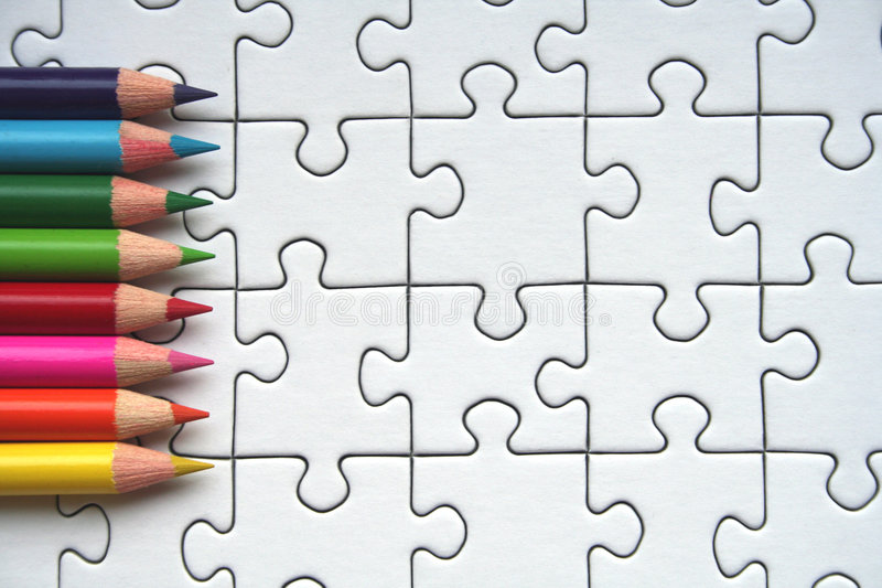 Download Pencils And Jigsaw Pattern Royalty Free Stock Photography - Image: 953057