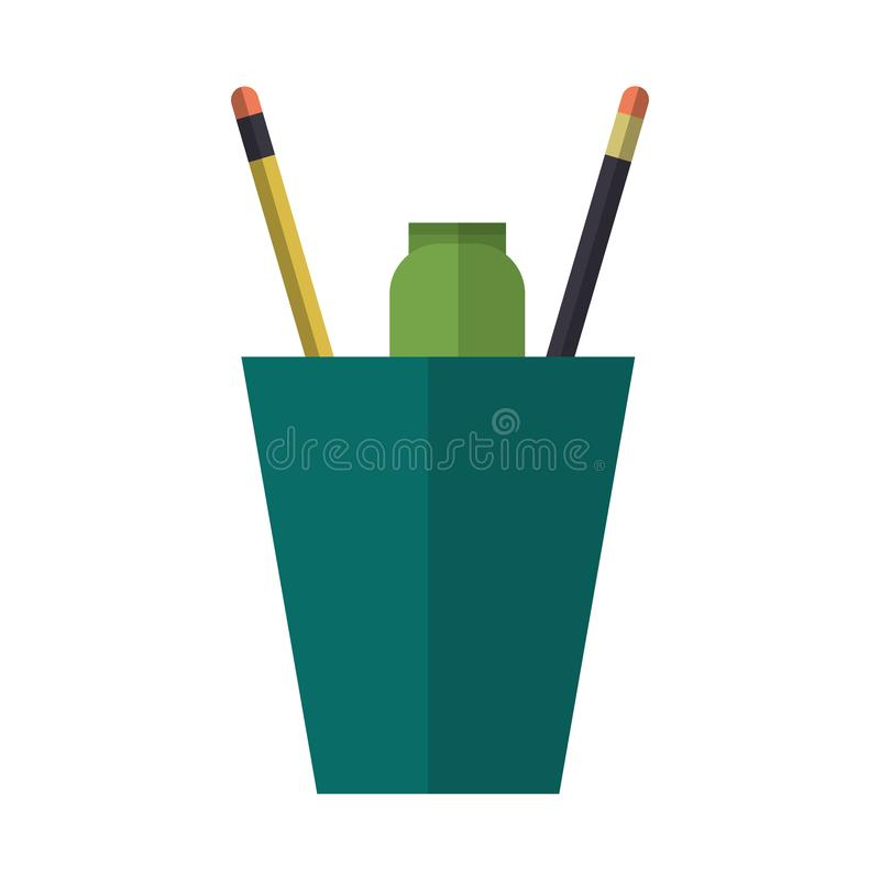 Pencils and marker in cup. Vector illustration graphic design royalty free illustration