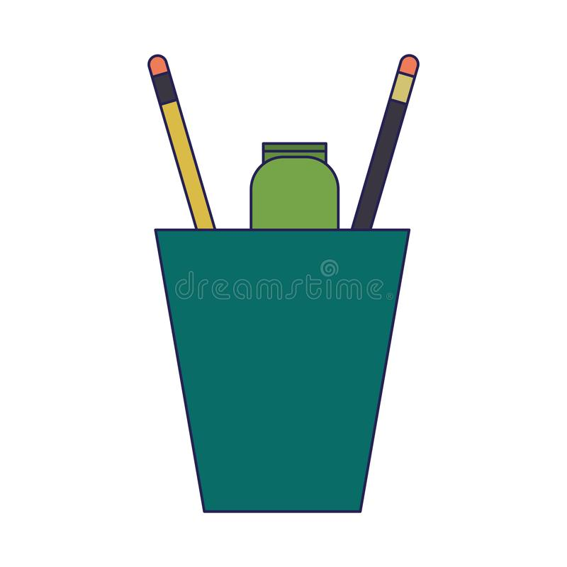 Pencils and marker in cup. Vector illustration graphic design stock illustration