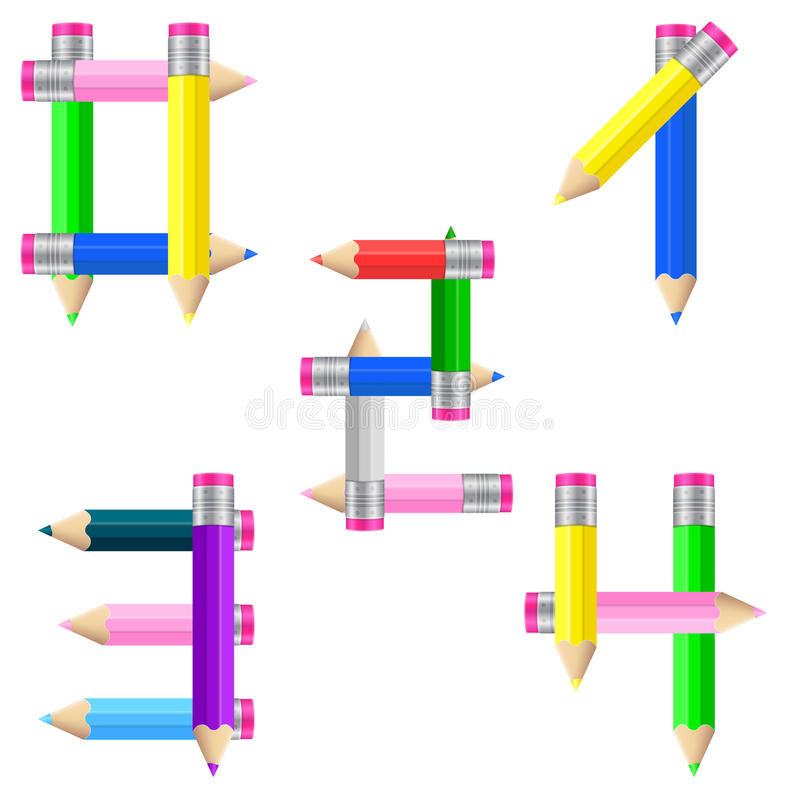 Pencils number 0-4 stock illustration