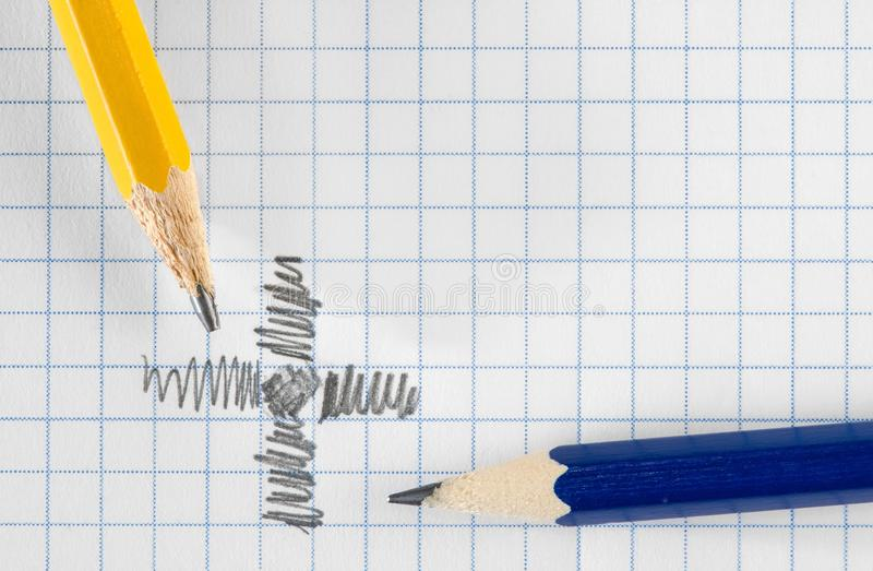 Pencils and paper stock images