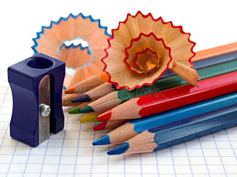 Pencils and pencil sharpener stock photography