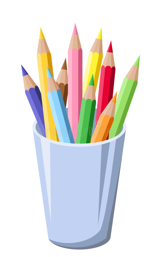 Pencils in a pot. Illustration of colorful pencils in a blue pot stock illustration