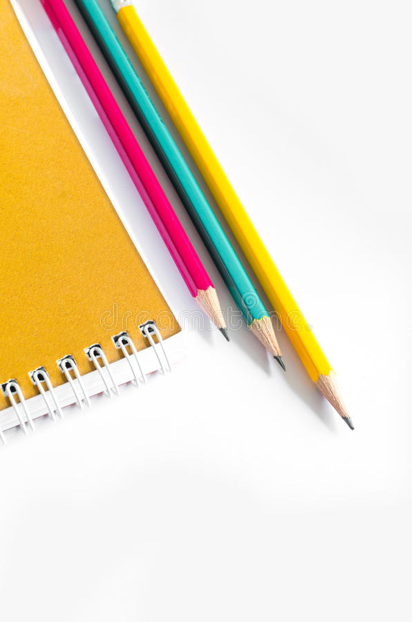 Pencils Red Yellow Green , Three Pencils on white background , Pencils, shallow depth stock photography