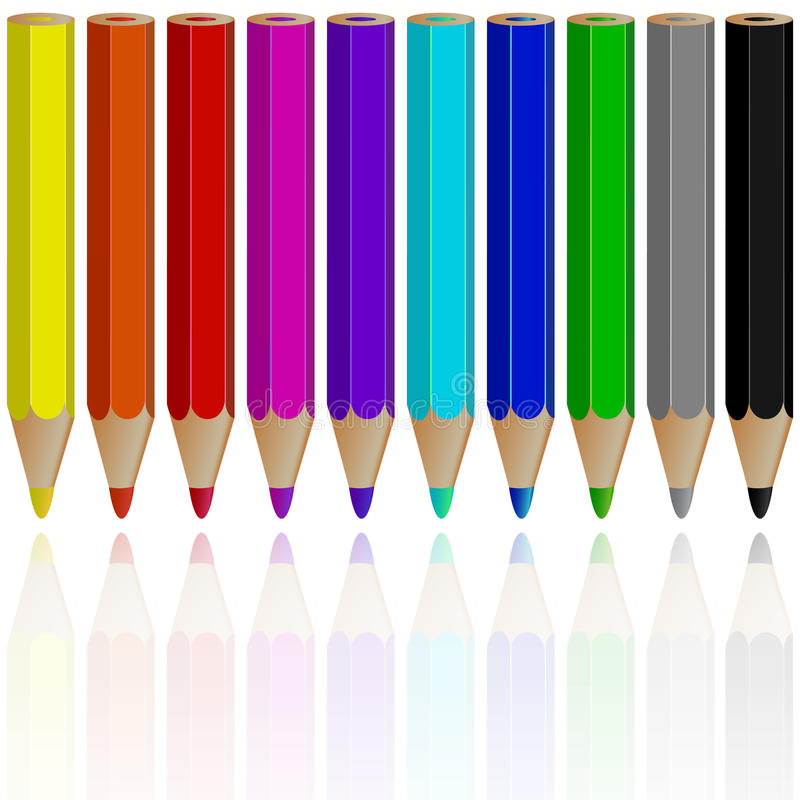 Download Pencils reflected stock vector. Illustration of match - 20525609