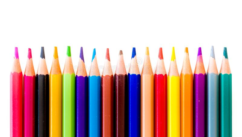 Pencils in row stock images