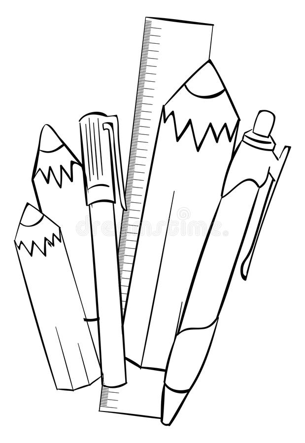 Pencils and school supplies royalty free illustration