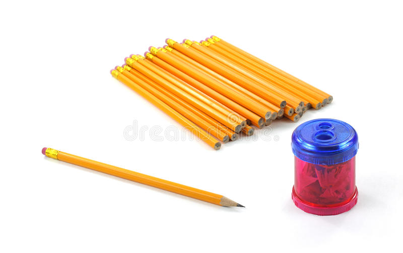 Pencils with sharpener royalty free stock images