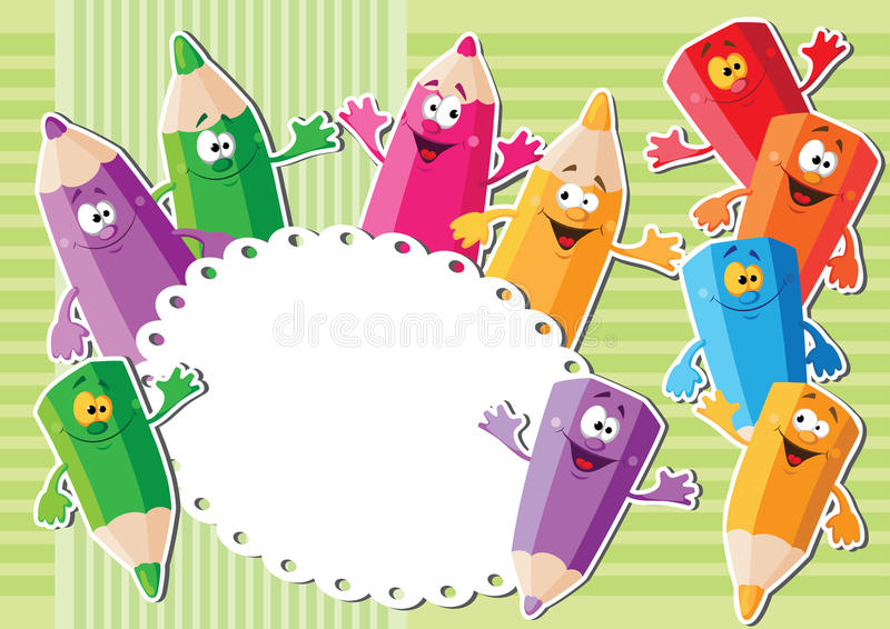 Download Pencils sticker background stock vector. Illustration of funny - 29304062