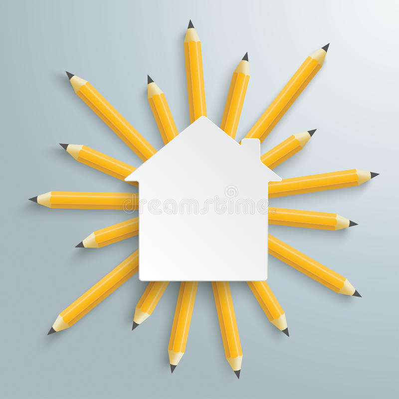 Pencils Sun House Building. Pencils with white house building on the gray background royalty free illustration