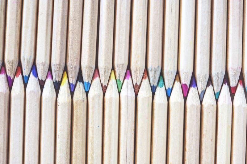 pencils tät färg för backen upp sikt arkivfoto