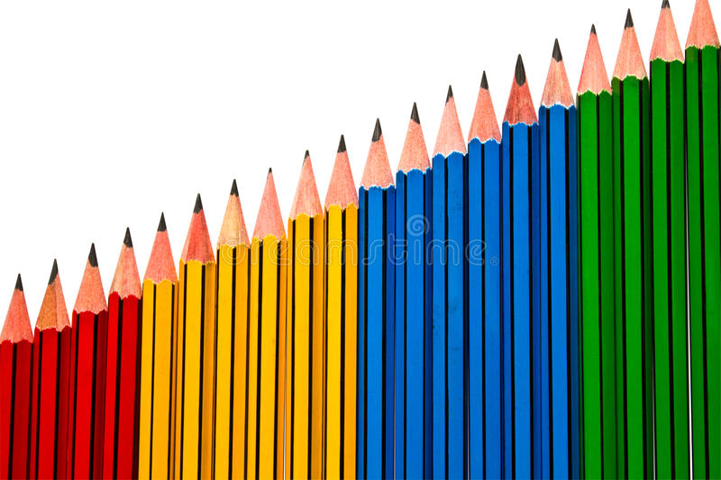 Pencils on White Background. Pencils Red Yellow Blue and Green on White Background stock photo