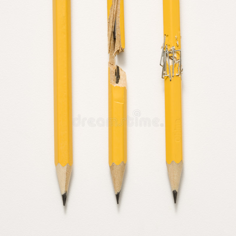 Pencils on white background. stock photos