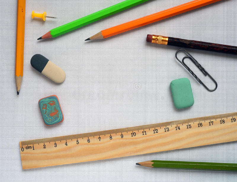 Pencils and wooden ruler stock photos