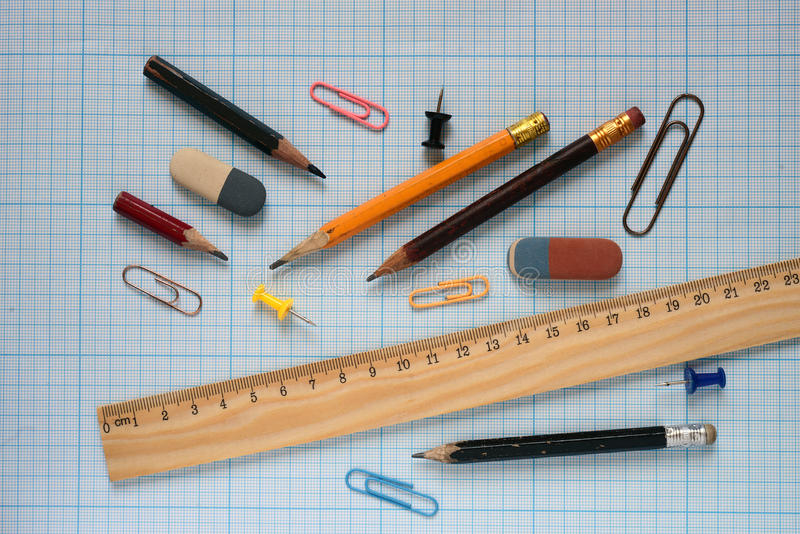 Pencils and wooden ruler. royalty free stock photography