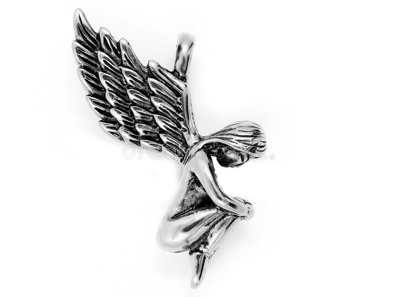 pendant Περιδέραιο κοσμήματος Σύμβολο των φτερών αγγέλου Υλικό ανοξείδωτο στοκ φωτογραφία με δικαίωμα ελεύθερης χρήσης