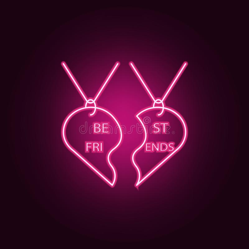 pendant best friends icon. Elements of Friendship in neon style icons. Simple icon for websites, web design, mobile app, info vector illustration