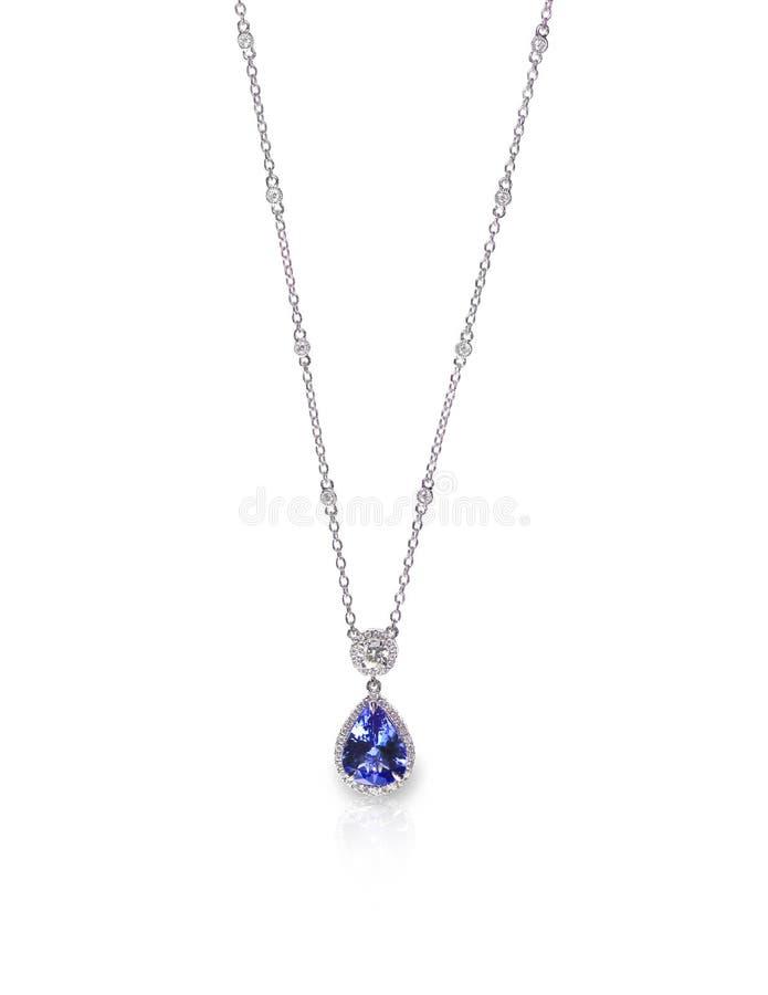 Pendant bleu de collier de chaîne d'améthyste de saphir de tanzanite image stock